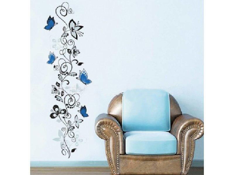 Muursticker vlinder met bloemen