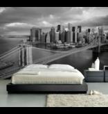 Fotobehang  Zwart wit foto Brooklyn Bridge