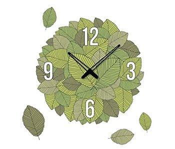 Time art Muursticker met klok - Blaadjes