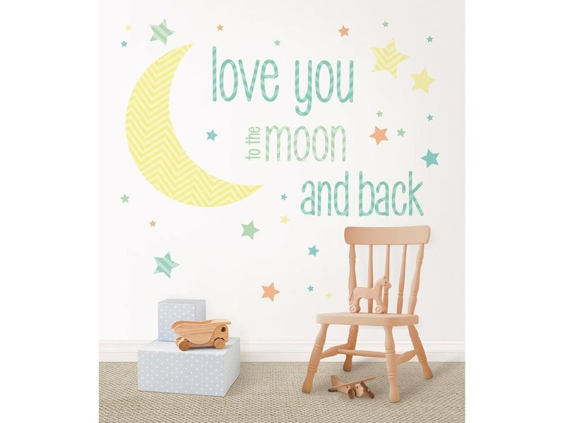 WallPops Muursticker Love you to the moon and back