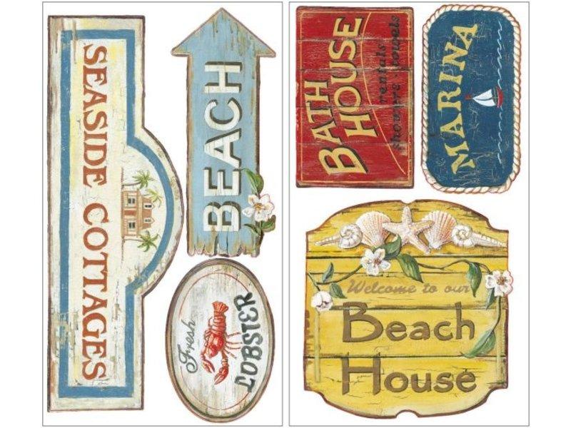 Muursticker Strand bordjes