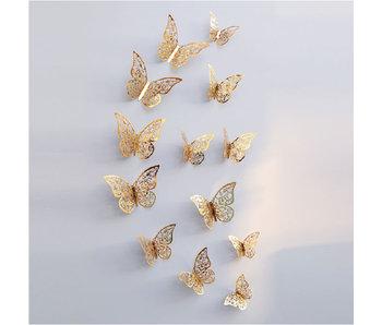 Versierendoejezo Vlinder Goud  12 stuks
