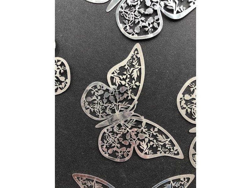 Versierendoejezo Vlinder Zilver 12 stuks