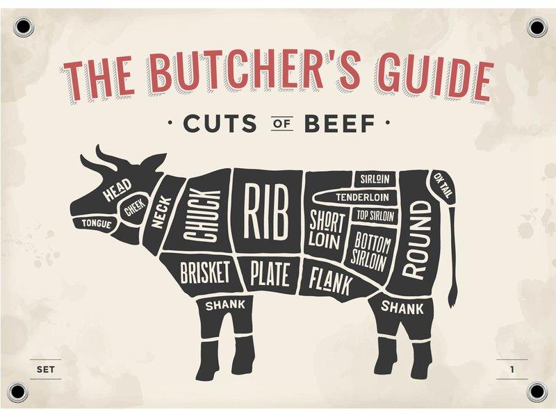 Man cave banner spandoek butchers cut koe beige