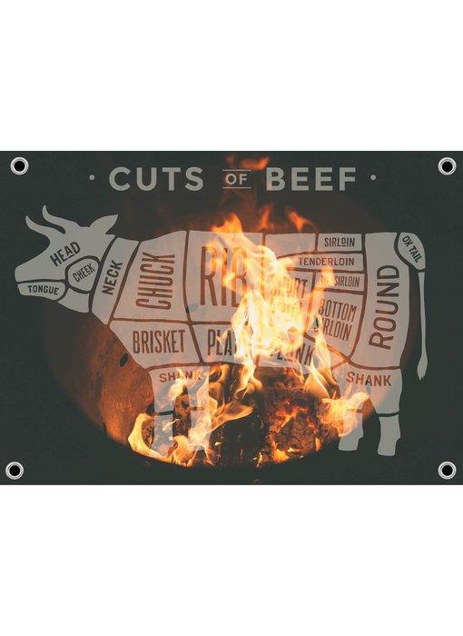 Man cave banner spandoek butchers cut koe vuur transparant