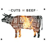 Man cave banner spandoek butchers cut koe vuur