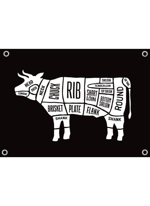 Man cave banner spandoek butchers cut koe zwart