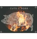 Man cave banner spandoek butchers cut varken vuur transparant