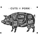 Man cave banner spandoek butchers cut varken wit