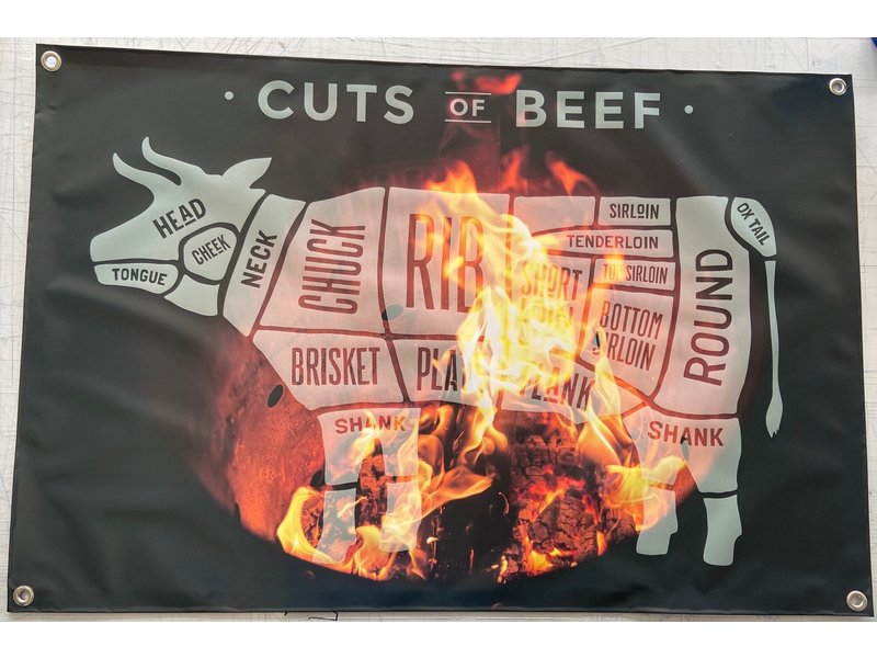 Man cave banner spandoek butchers cut koe vuur transparant