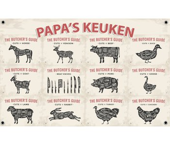 Man cave banner spandoek butchers cut beige papa