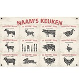 Man cave banner spandoek butchers cut beige naam