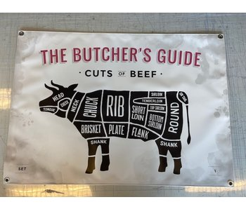 Man cave banner spandoek butchers cut koe beige