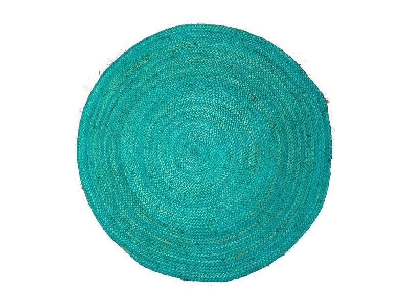 Rocaflor Vloerkleed gevlochten Zeeblauw jute rond 120 cm