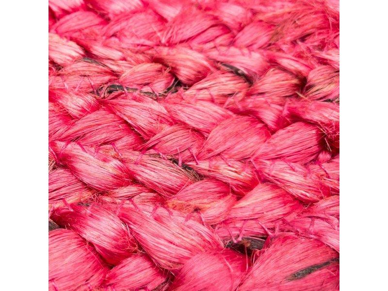 Rocaflor Vloerkleed gevlochten Coral Blush jute ø 120cm
