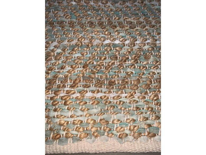 Rocaflor Vloerkleed leer jute geweven salie 200x300cm