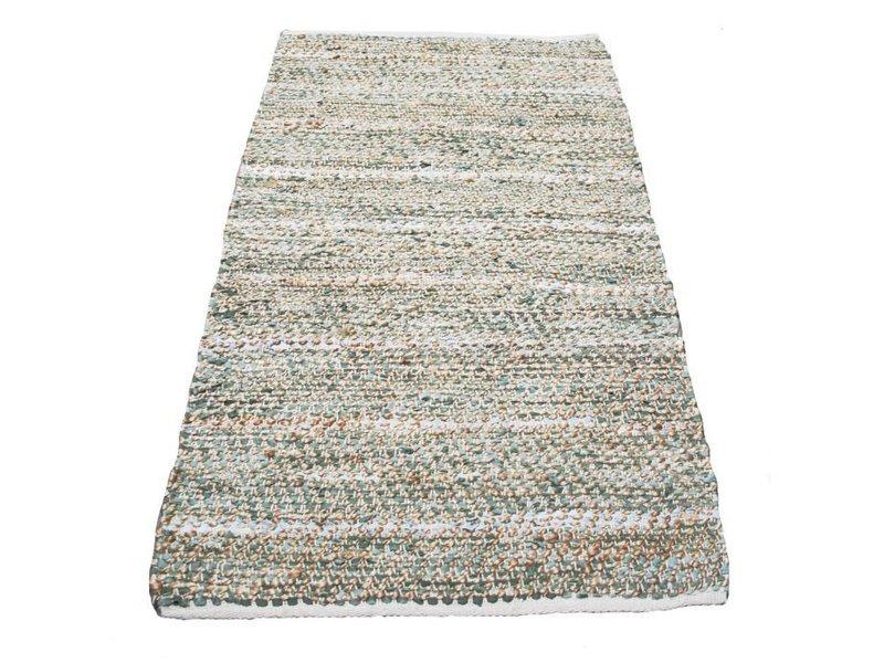 Rocaflor Kleed leer jute geweven salie groen 80x140cm