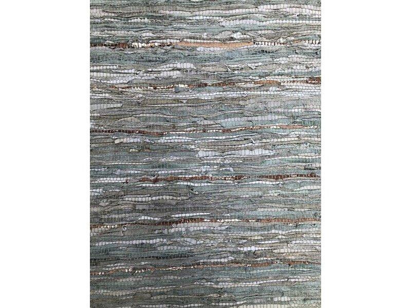 Rocaflor Vloerkleed gerecycled leer geweven Salie/Goud 160x230cm
