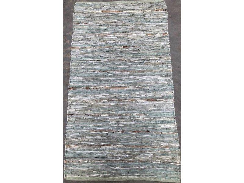 Rocaflor Vloerkleed gerecycled leer geweven Salie/Goud 80x140cm