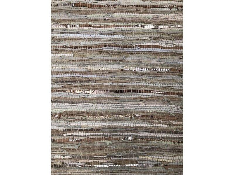 Rocaflor Vloerkleed gerecycled leer geweven Beige/Goud 200x300cm