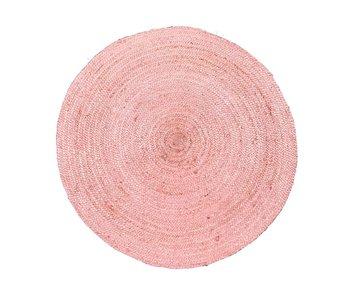 Rocaflor Vloerkleed jute rond ø150 cm Blush Pink Pastel Rose