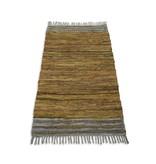 Rocaflor Vloerkleed recycled leer 80x140cm beige/ecru handgeweven