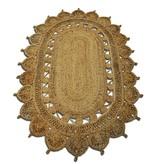 Rocaflor Vloerkleed jute naturel ovaal 120x180cm 100% handgemaakt