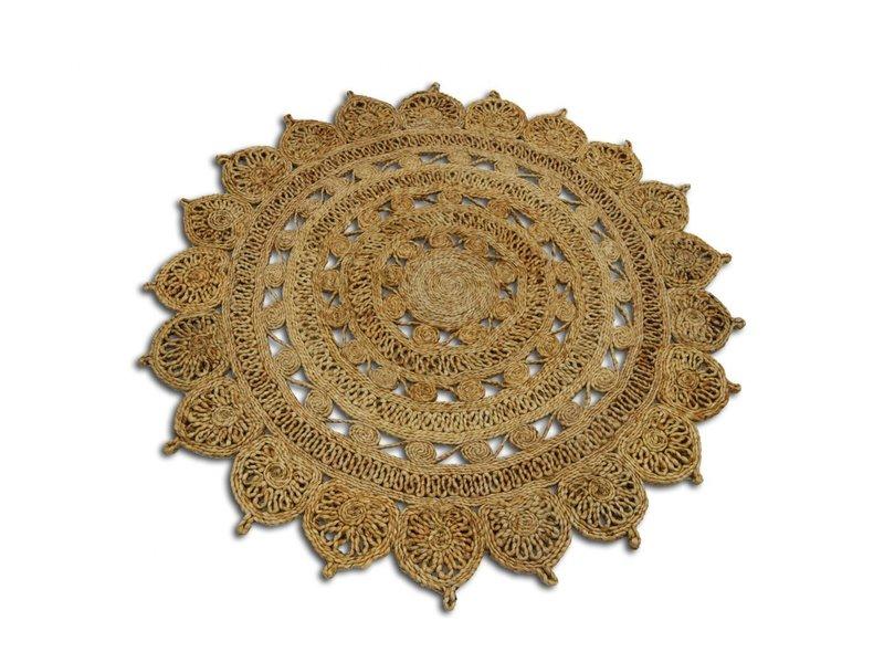 Rocaflor Vloerkleed jute naturel Lotus rond 200 cm 100% handgemaakt