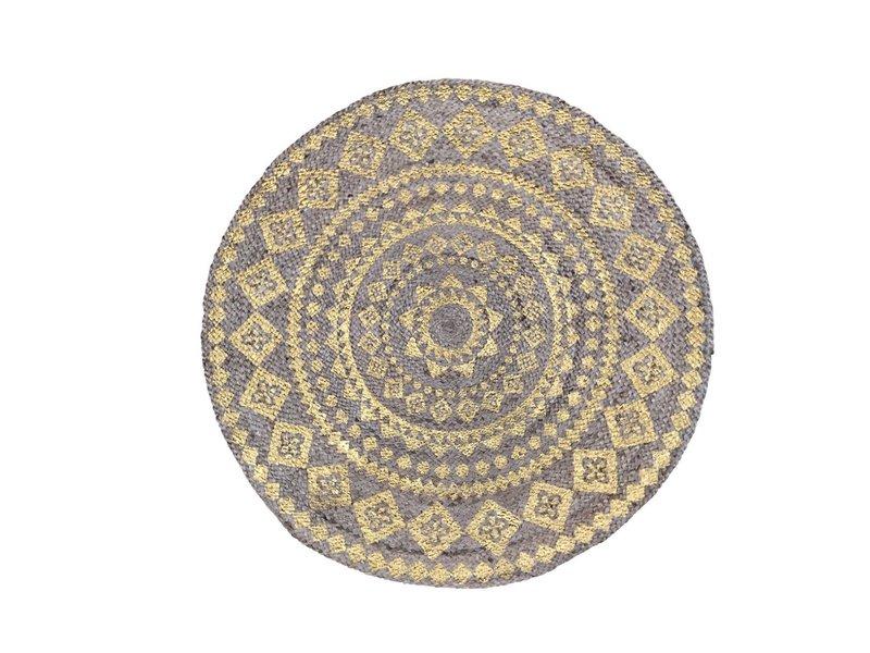 Rocaflor Vloerkleed gevlochten jute met print Goud Mandala ø 200cm