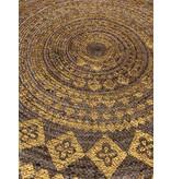 Rocaflor Vloerkleed gevlochten jute & print Goud rond 120cm