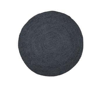 Rocaflor Vloerkleed gevlochten Zwart jute rond 120 cm