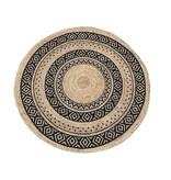 Rocaflor Vloerkleed rond 150cm gevlochten jute cirkel print zwart