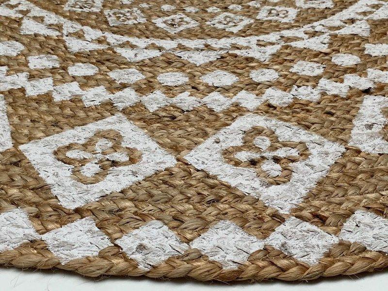 Rocaflor Vloerkleed jute print wit mandala ø 200 cm