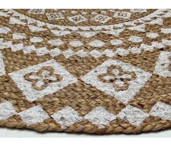 Rocaflor Vloerkleed wit print mandala ø 150cm