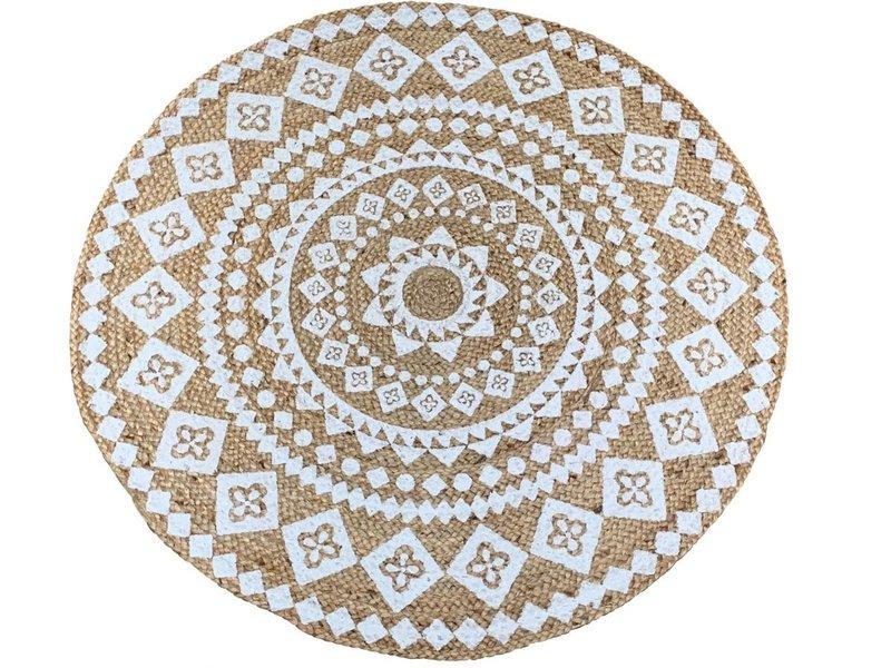 Rocaflor Vloerkleed jute wit print mandala ø 120 cm