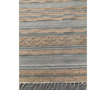 Rocaflor Vloerkleed geweven jute. salie wol. wit PET katoen 160x230cm
