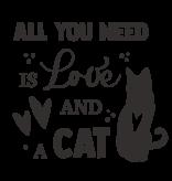 Versierendoejezo Muursticker all you need is love and a cat zwart