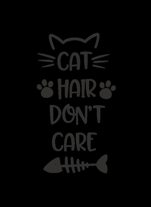 Versierendoejezo Muursticker cat hair dont care zwart