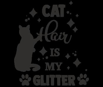 Versierendoejezo Muursticker cat hair is my glitter zwart