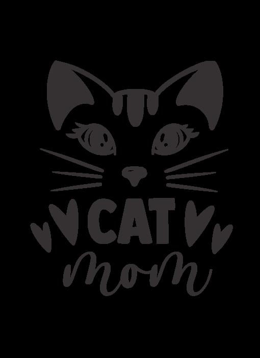 Versierendoejezo Muursticker cat mom zwart