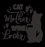 Versierendoejezo Muursticker cat mother wine lover zwart