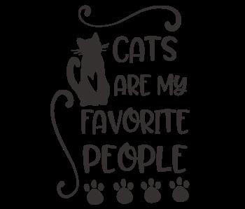 Versierendoejezo Muursticker cats are my favorite people zwart