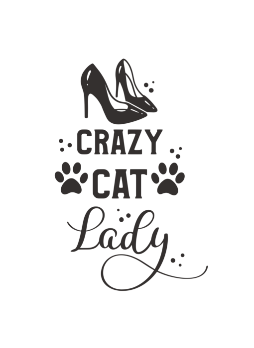 Versierendoejezo Muursticker crazy cat lady zwart