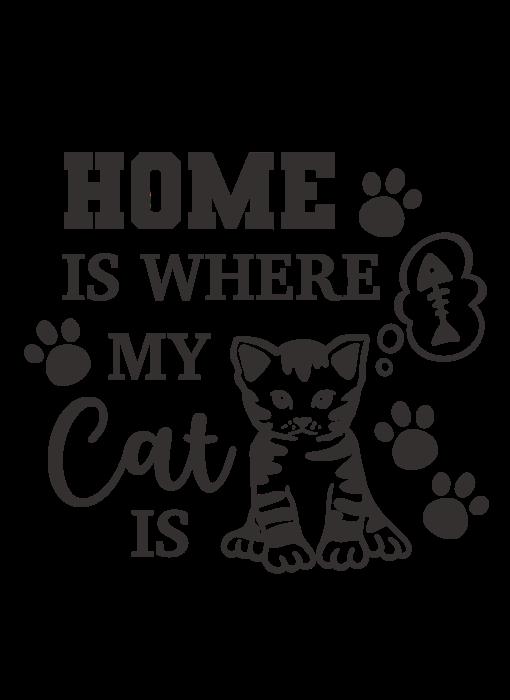 Versierendoejezo Muursticker home is where my cat is zwart