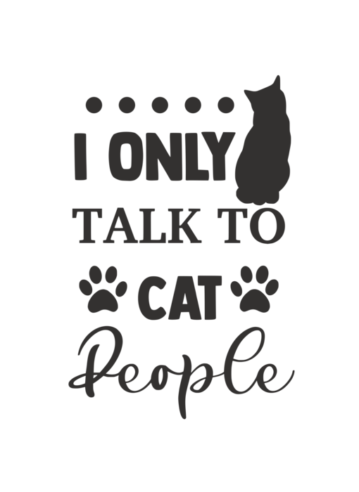 Versierendoejezo Muursticker i only talk to cat people zwart