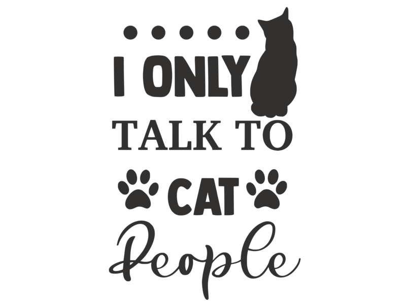 Versierendoejezo Muursticker i only talk to cat people zwart