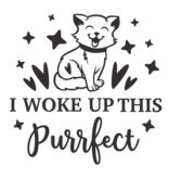 Versierendoejezo Muursticker i woke up this purrfect zwart