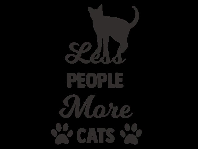 Versierendoejezo Muursticker less people more cats zwart