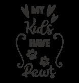 Versierendoejezo Muursticker my kids have paws zwart