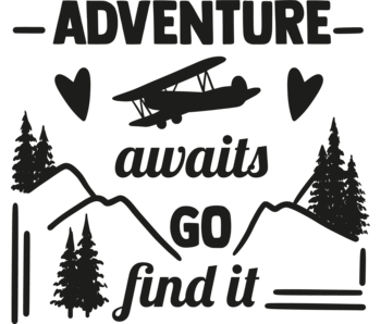 Versierendoejezo Muursticker adventure awaits go find it in de kleur zwart
